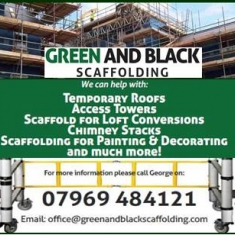 Green and Black Scaffolding